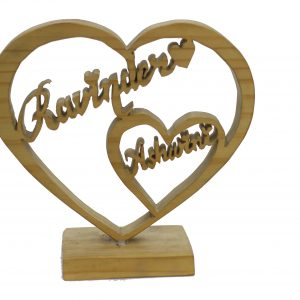 Customised heart Wooden Name Plate Stand