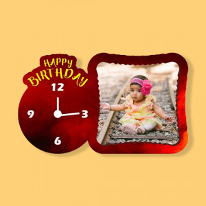 Birthday - Fancy Photo Frame with Clock