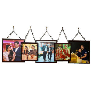 Art Street Set of 5 Individual Brown Wall Photo Frames with Family MDF Plaque