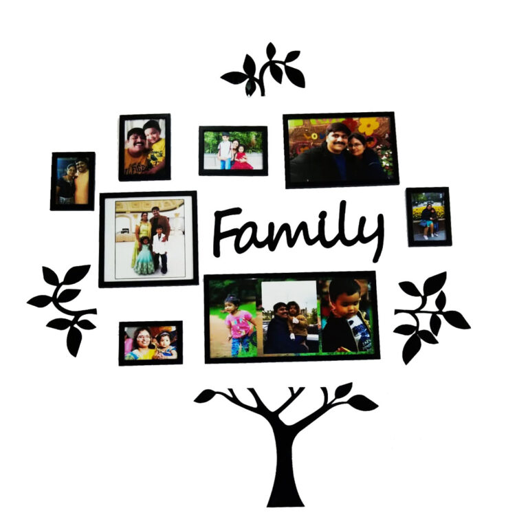 PRINTELLIGENT Family Tree Photo Frames Set for Home Wall Decor